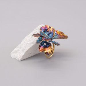 芹葉福祿桐葉-硫化銀戒指-1