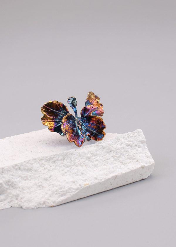 芹葉福祿桐葉-硫化銀戒指-2