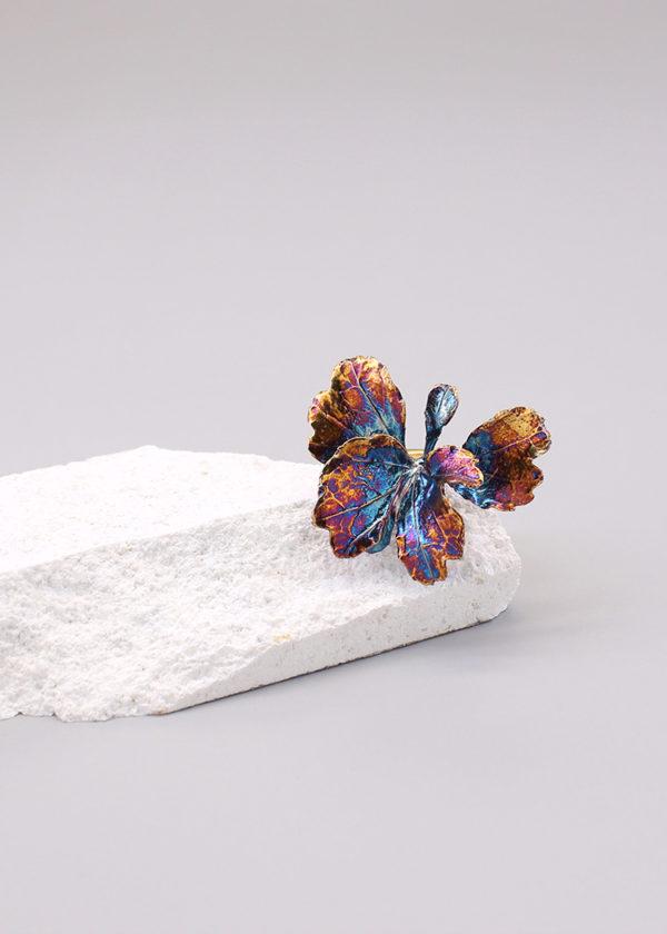芹葉福祿桐葉-硫化銀戒指-3