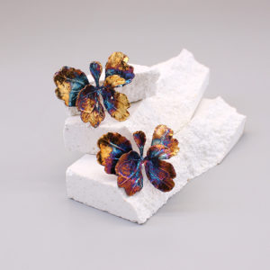 芹葉福祿桐葉-硫化銀雙層耳環-1