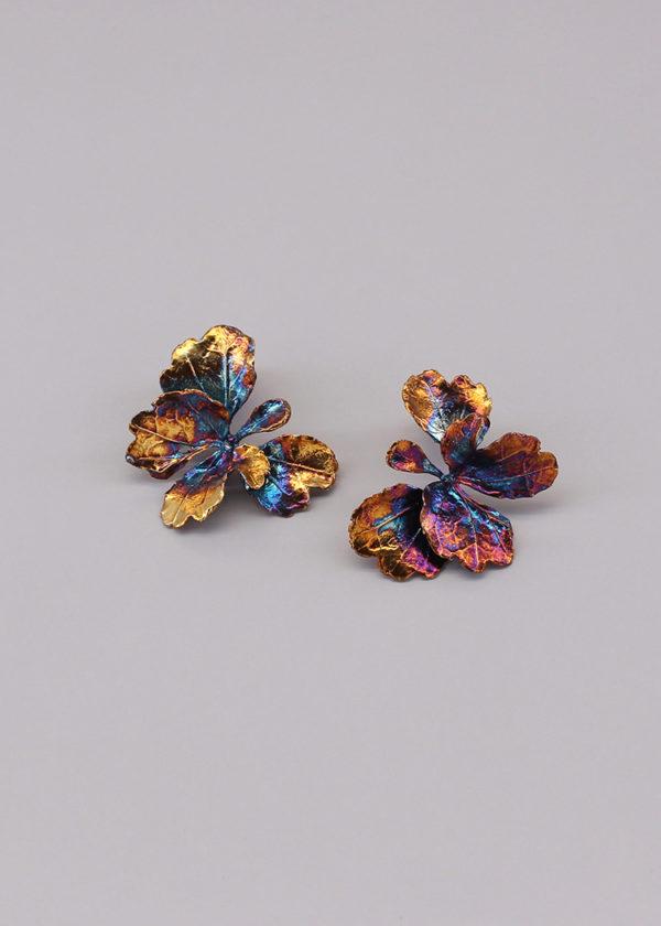 芹葉福祿桐葉-硫化銀雙層耳環-3.