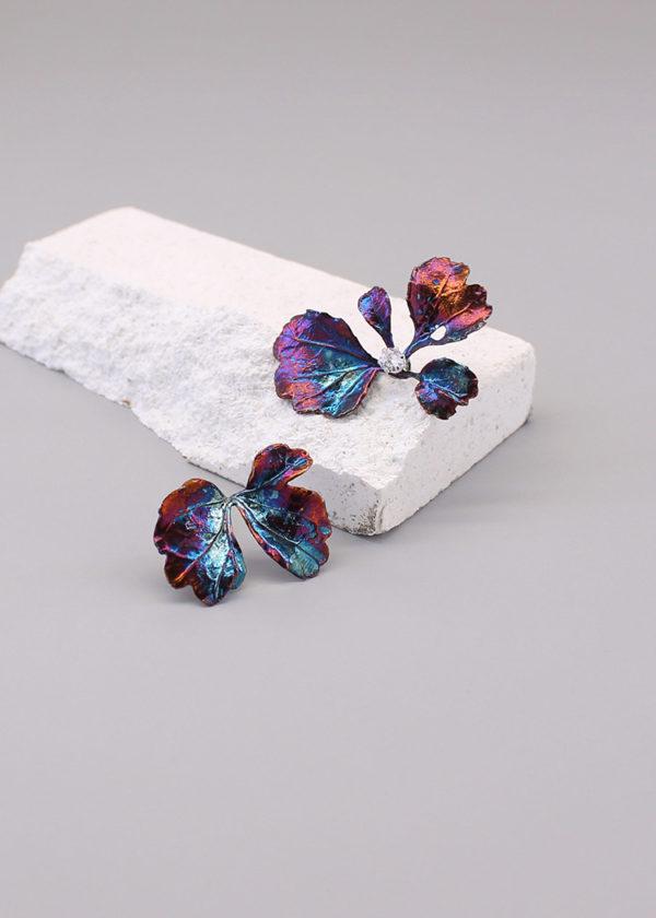 芹葉福祿桐-硫化銀鑽石耳環-2