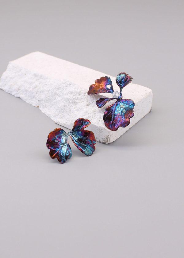 芹葉福祿桐-硫化銀鑽石耳環-3