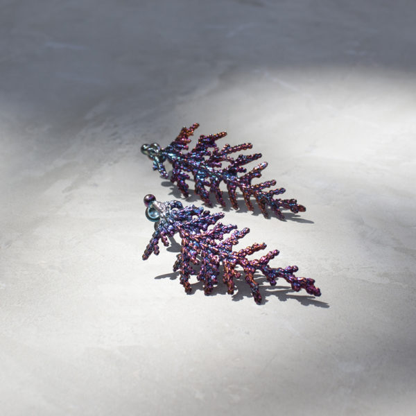 扁柏葉 硫化銀耳環-3