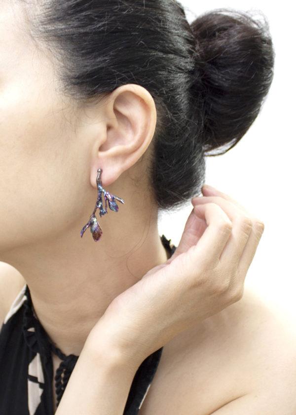 細葉杜鵑葉 硫化銀耳環-3