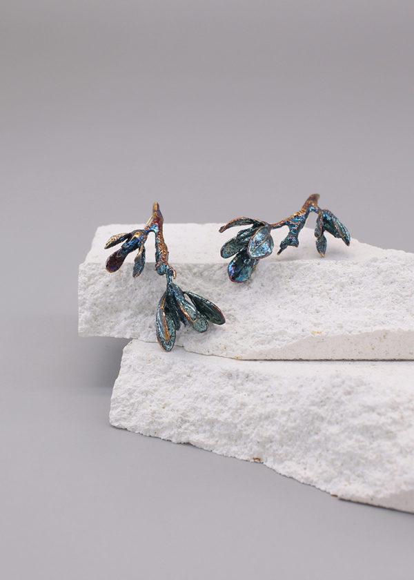 細葉杜鵑葉 硫化銀耳環-5