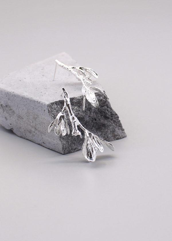 細葉杜鵑葉 純銀耳環-1