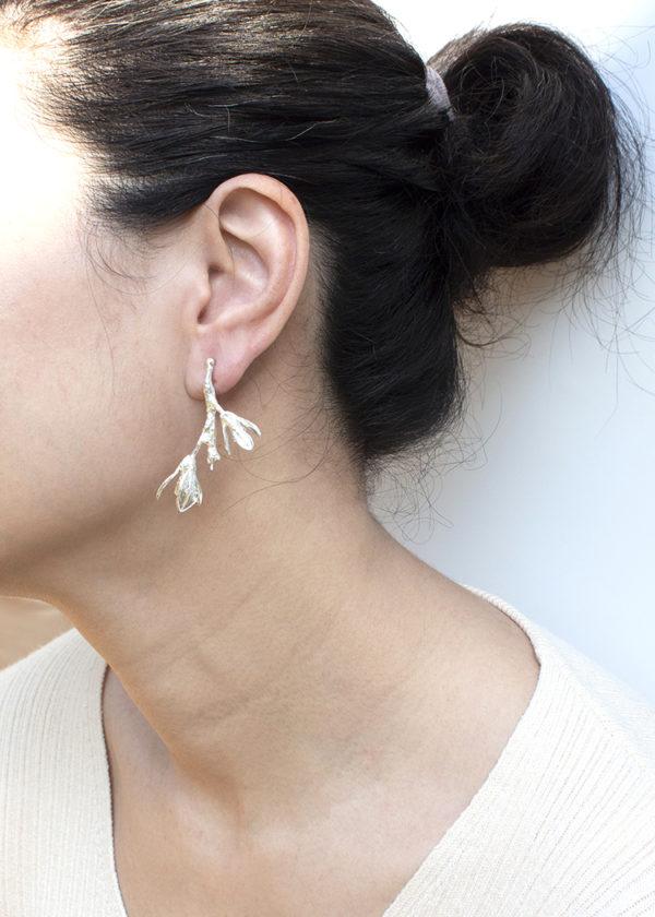 細葉杜鵑葉 純銀耳環-2