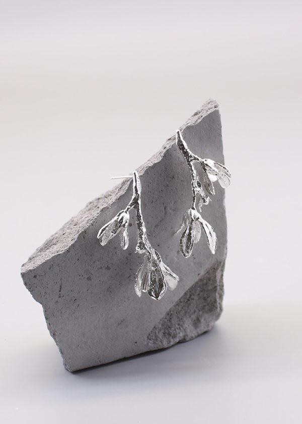 細葉杜鵑葉 純銀耳環-3