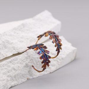 長生鐵角蕨 硫化銀耳環-1