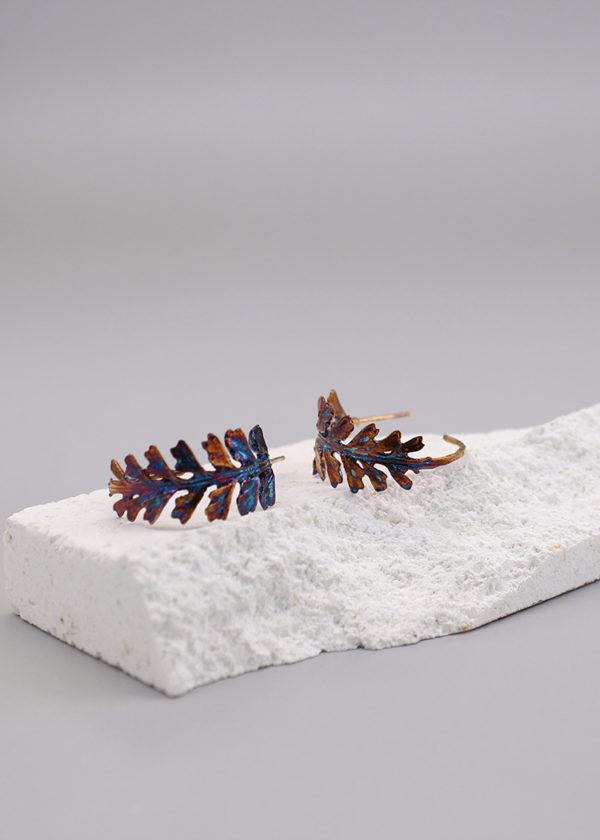 長生鐵角蕨 硫化銀耳環-2