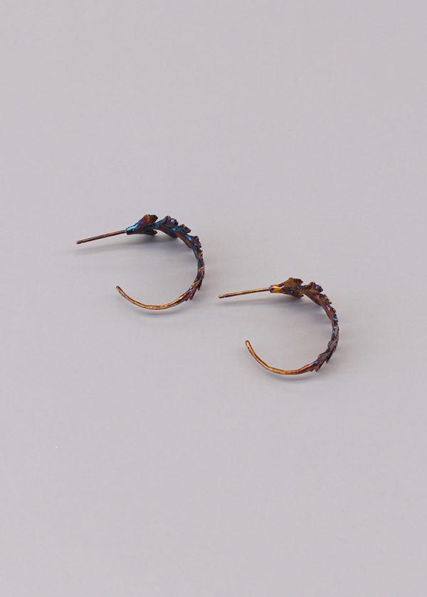 長生鐵角蕨 硫化銀耳環-5