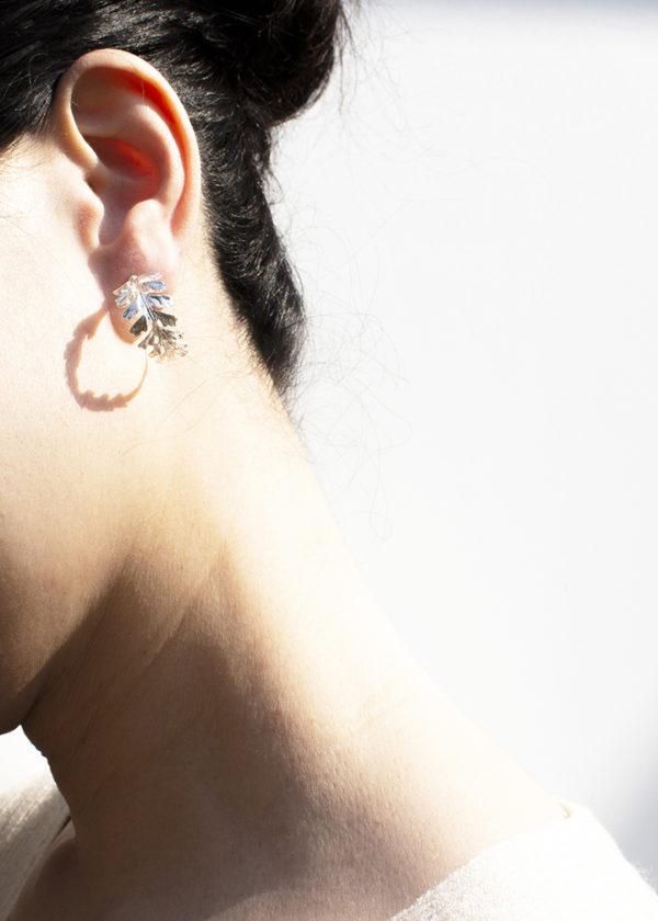 長生鐵角蕨 純銀耳環-2