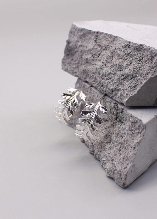 長生鐵角蕨 純銀耳環-3