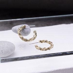 半天花 黃銅耳環 M款-1
