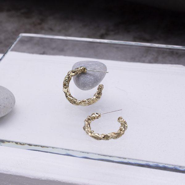 半天花 黃銅耳環 M款-3