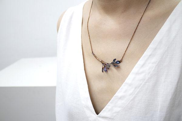 細葉杜鵑葉 硫化銀項鍊-3