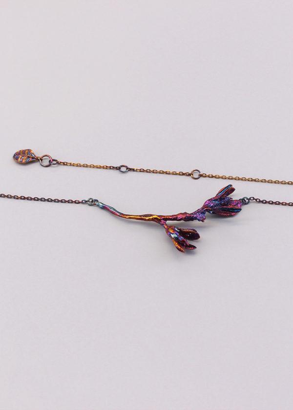 細葉杜鵑葉 硫化銀項鍊-4