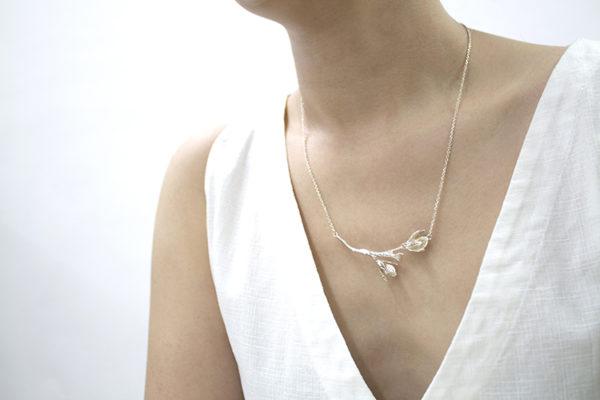 細葉杜鵑葉 純銀項鍊-1