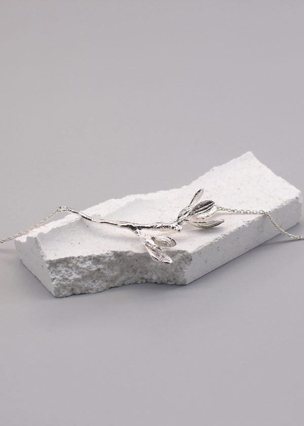 細葉杜鵑葉 純銀項鍊-2