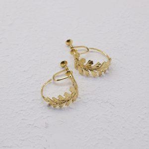 長生鐵角蕨-18K鍍金夾式耳環-1.