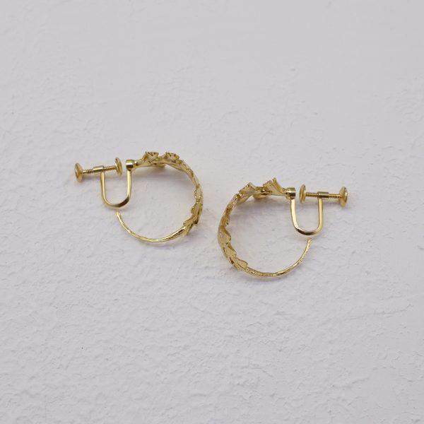 長生鐵角蕨 18K鍍金夾式耳環-2