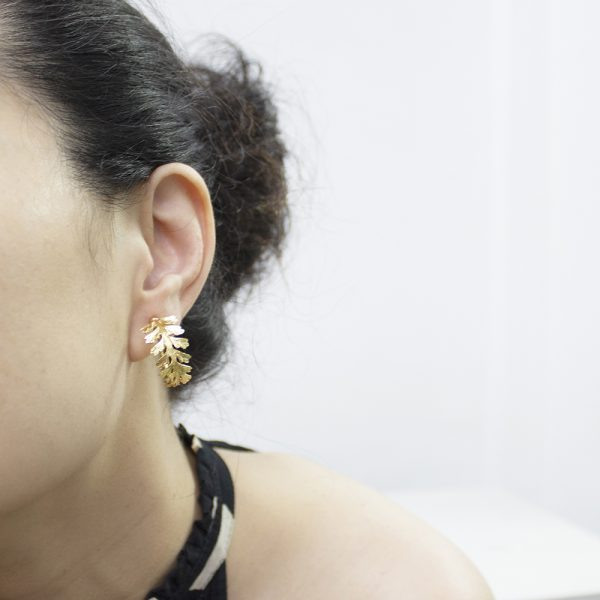 長生鐵角蕨-18K鍍金夾式耳環-3