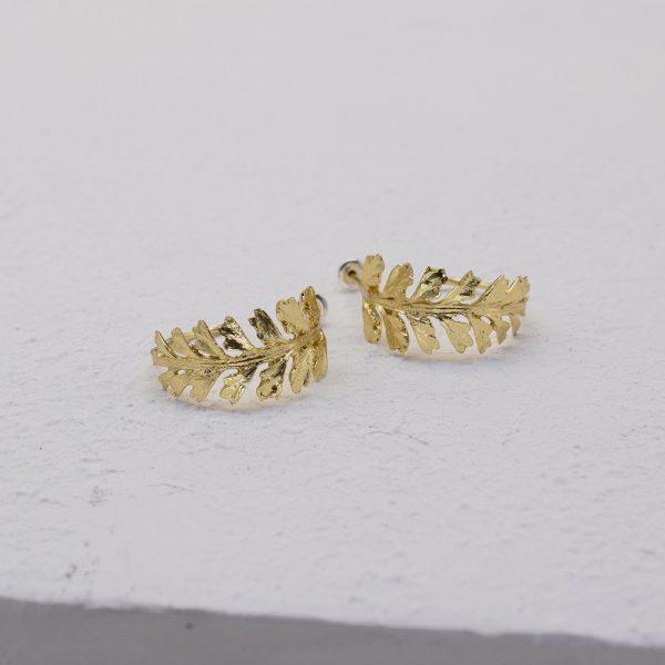 長生鐵角蕨 18K鍍金夾式耳環-4