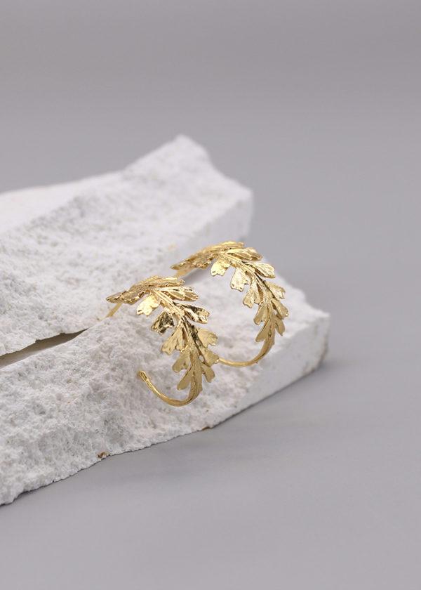 長生鐵角蕨 18K鍍金耳環-2