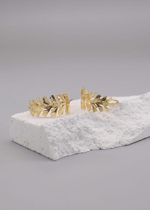 長生鐵角蕨 18K鍍金耳環-3