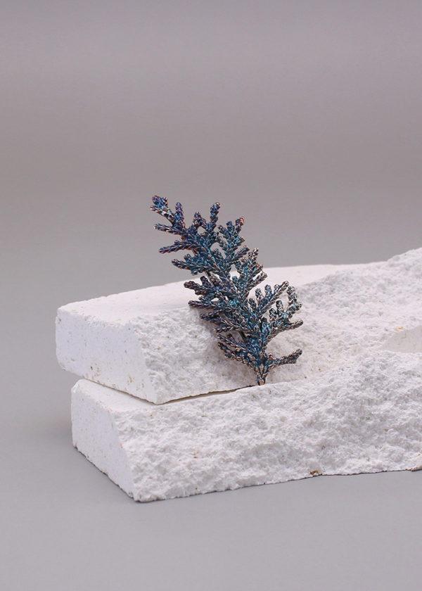 扁柏葉 硫化銀別針 小-3-2
