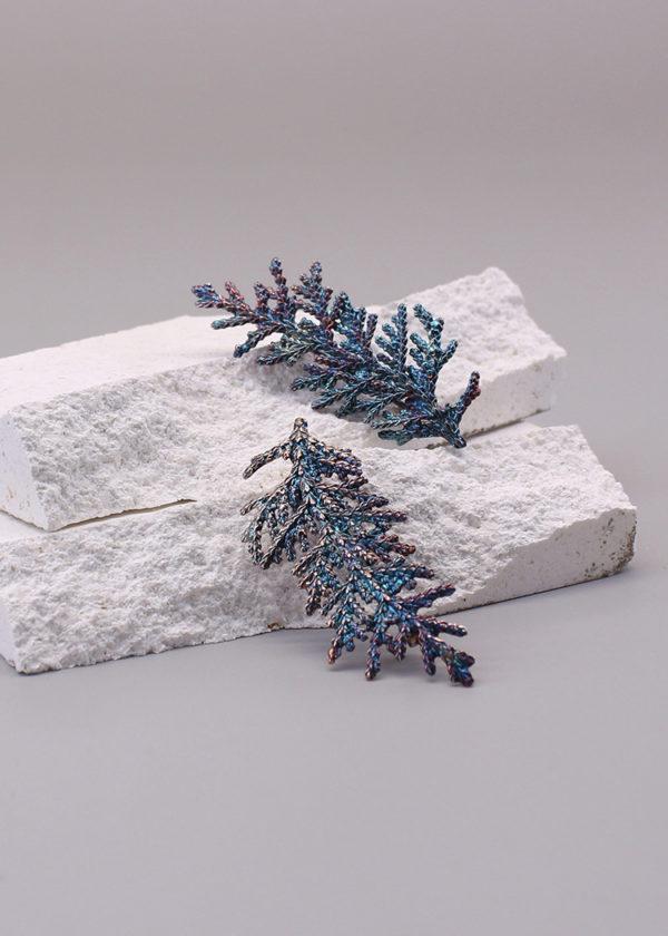扁柏葉 硫化銀別針 小-4-2