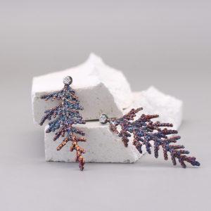 扁柏葉 硫化銀鑽石耳環-1