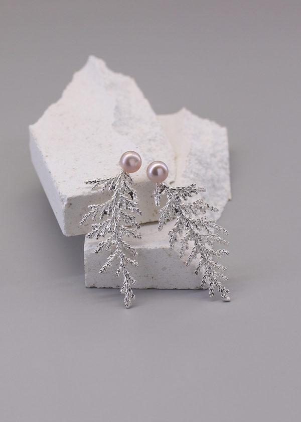 扁柏葉 純銀珍珠耳環-1