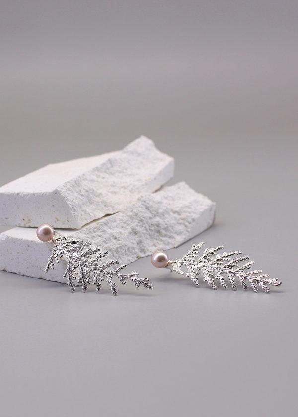 扁柏葉 純銀珍珠耳環-3