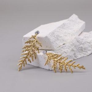 扁柏葉 18K鍍金鑽石耳環-1