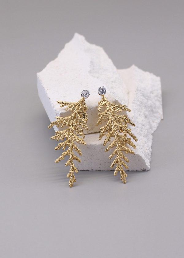 扁柏葉 18K鍍金鑽石耳環-2