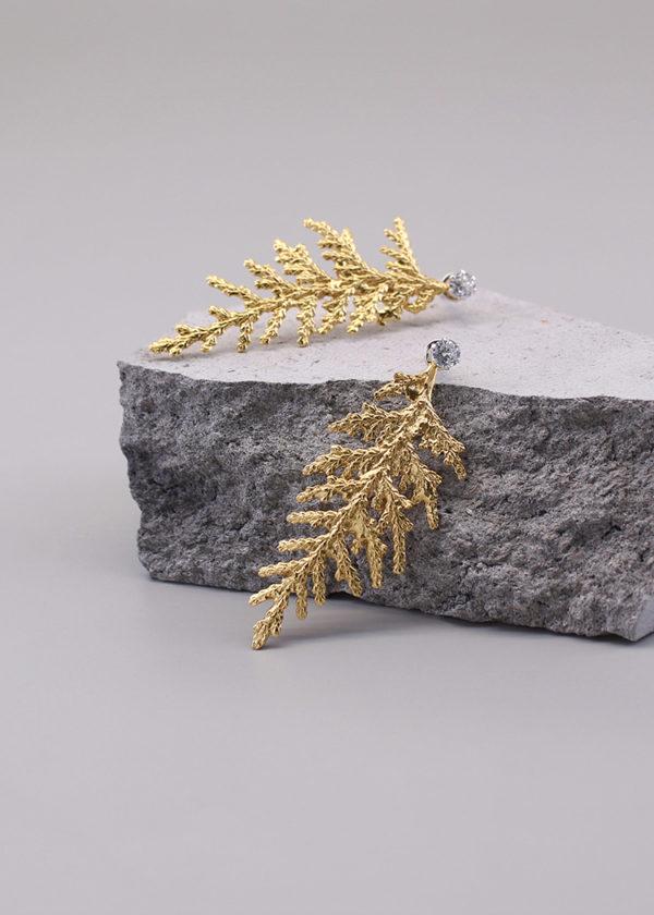 扁柏葉 18K鍍金鑽石耳環-4