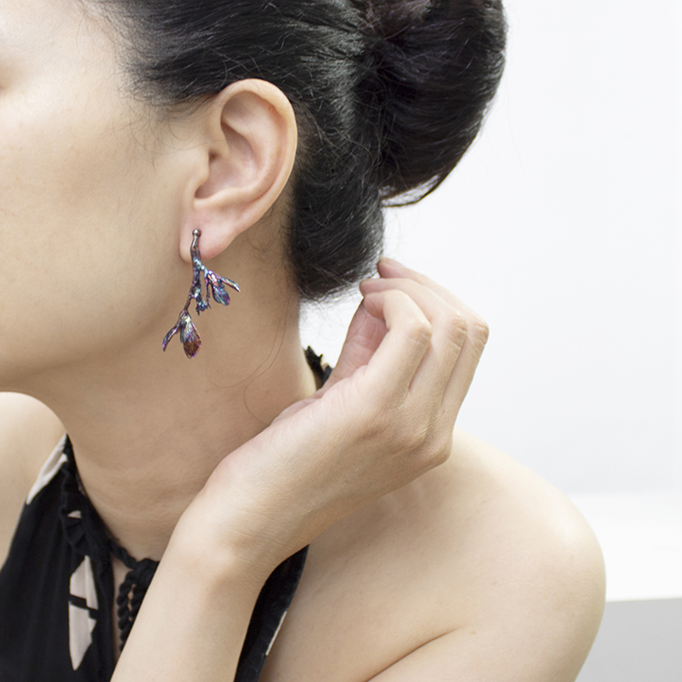 細葉杜鵑葉 硫化銀夾式耳環