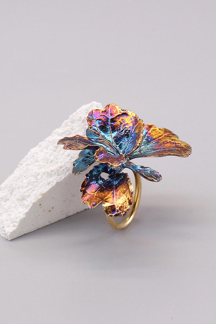 芹葉福祿桐葉 硫化銀戒指