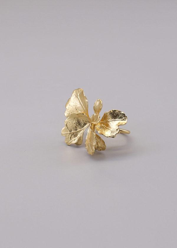 芹葉福祿桐葉-18K鍍金戒指-1