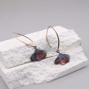 銀杏葉 硫化銀中耳勾耳環-1