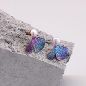 銀杏葉 硫化銀珍珠耳環-1