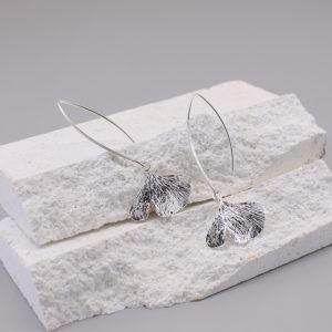 銀杏葉 純銀中耳勾耳環-1