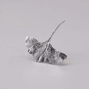 銀杏葉 純銀別針-1