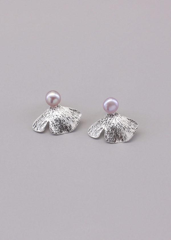銀杏葉 純銀珍珠耳環-1