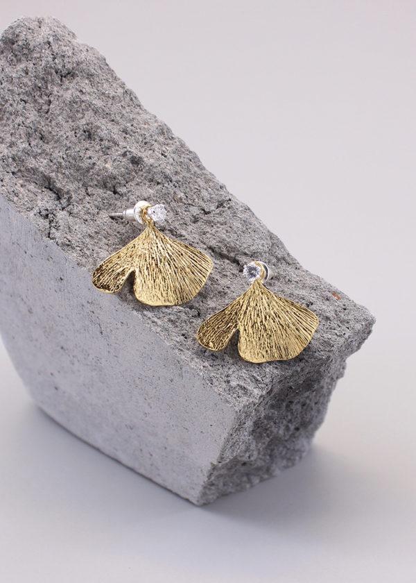 銀杏葉 18K鍍金鑽石耳環-1