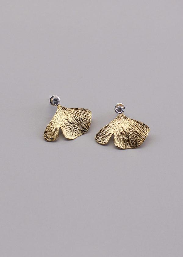 銀杏葉 18K鍍金鑽石耳環-2