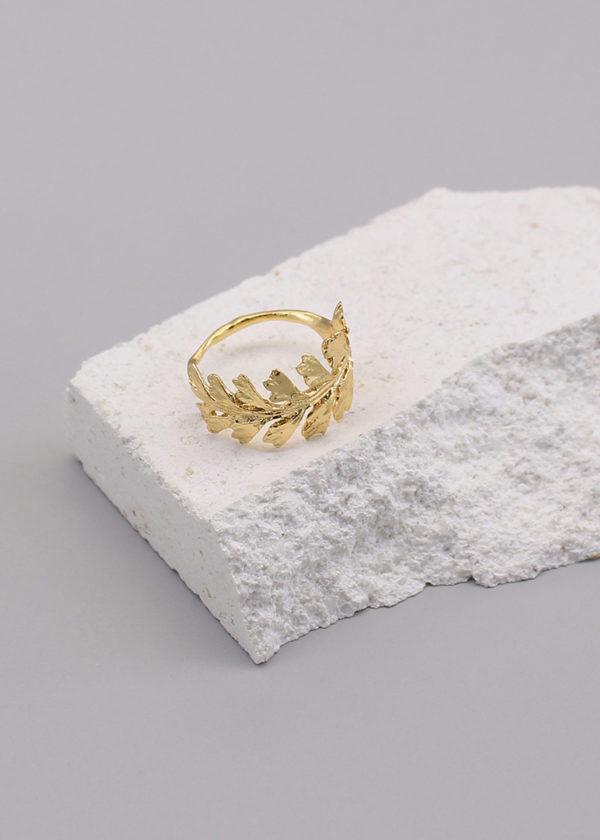 長生鐵角蕨 18K鍍金戒指-1
