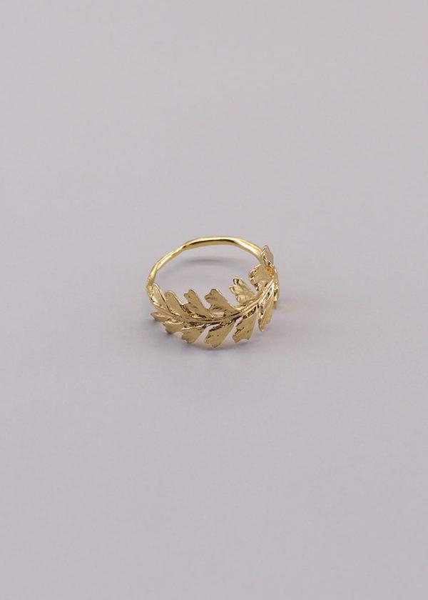 長生鐵角蕨 18K鍍金戒指-4